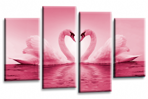 Love Swans Canvas Wall Art Picture Kissing Heart Pink White Print